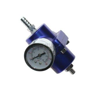 Einstellbarer Benzindruckregler - universal - blau - inkl. Manometer