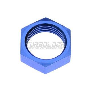 Aluminium Überwurfmutter für Bulkhead-Adapter AN6 D06 - blau