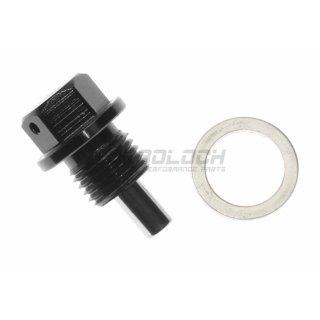 Ölablassschraube Verschlussschraube magnetisch - Aluminium schwarz M14x1x5