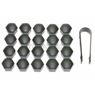 20x Radschrauben-Abdeckungen SW17 grau-metallic (inkl. Klammer)
