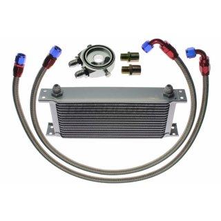 """Ölkühler Kit - 16 Reihen + Adapter 3/4""""-16 UNF / M20x1,5 mit Sensoranschlüssen + 1m AN8 Edelstahl-Leitungen"""