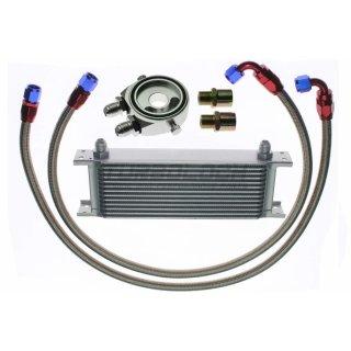 """Ölkühler Kit - 13 Reihen + Adapter 3/4""""-16 UNF / M20x1,5 mit Sensoranschlüssen + 1m AN8 Edelstahl-Leitungen"""