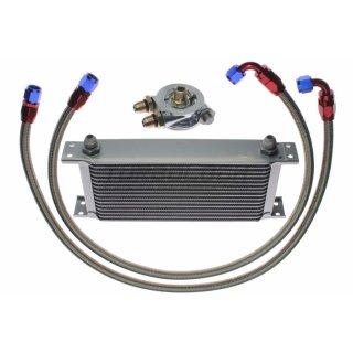 """Ölkühler Kit - 16 Reihen + Adapter 3/4""""-16 UNF mit Thermostat + 1m AN8 Edelstahl-Leitungen"""