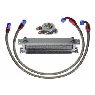 """Ölkühler Kit - 10 Reihen + Adapter 3/4""""-16 UNF mit Thermostat + 1m AN8 Edelstahl-Leitungen"""