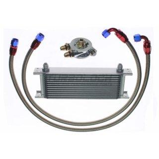 """Ölkühler Kit - 13 Reihen + Adapter 3/4""""-16 UNF mit Thermostat + 1m AN8 Edelstahl-Leitungen"""