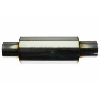 Uni-Schalldämpfer rund mit Stutzen - D:125mm d1:76mm L1:390mm L2:250mm