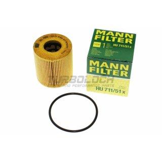 Ölfilter - Mann HU 711/51x - Citroen Fiat Ford Jaguar Lancia Land Rover Mini Mitsubishi Peugeot Toyota Volvo