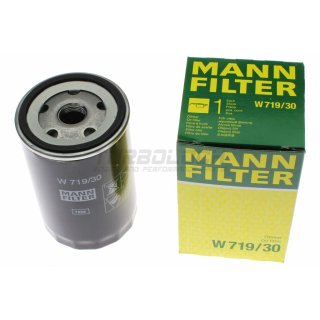 Ölfilter - Mann W 719/30 - VAG 1.6-2.0 (8V, 16V) 1.8T 2.2-2.3 (20V) 2.6-2.8 2.7 Bi-Turbo (V6) 4.2 (V8)