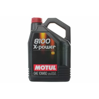 Motul 8100 X-Power 10W60 5L - vollsynthetisches Motoröl - BMW M / Audi RS / Ferrari / Aston Martin  (106144)