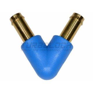 6 mm V-Stück Messing blau